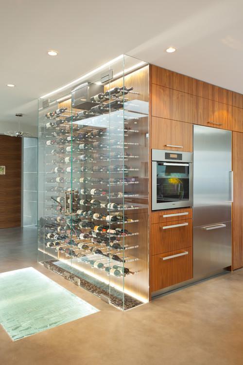 Un modelo contemporáneo integrado en la amplia cocina.
