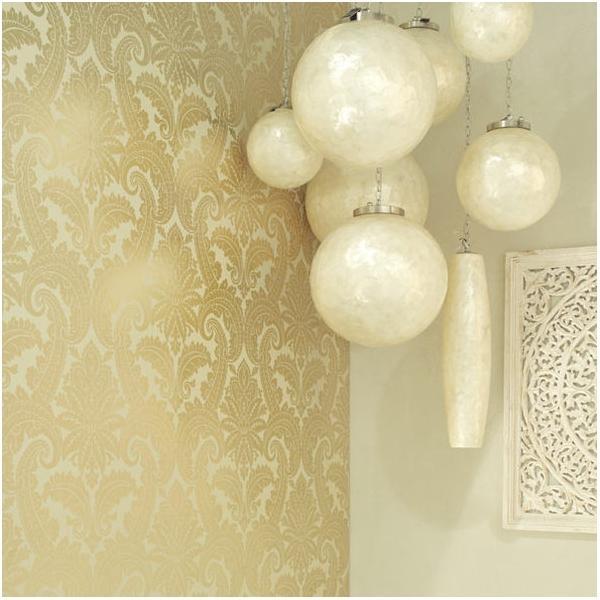 Papel pintado dorado imagui - Papel pared blanco ...