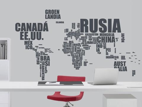 Un gran mapa con la forma de los países  con sus nombres.