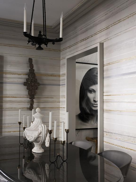paredes a rayas plateadas metlicas en horizontal - Pintar Paredes A Rayas