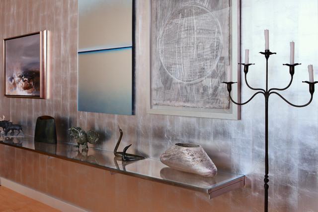 pared cubierta de finas lminas de pan de plata