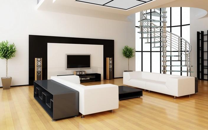 Minimalismo por los todos sus  poros exuda este diseño de salón.