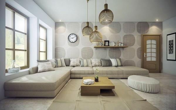 Tonos suaves y neutros dominan el aspecto de este salón.