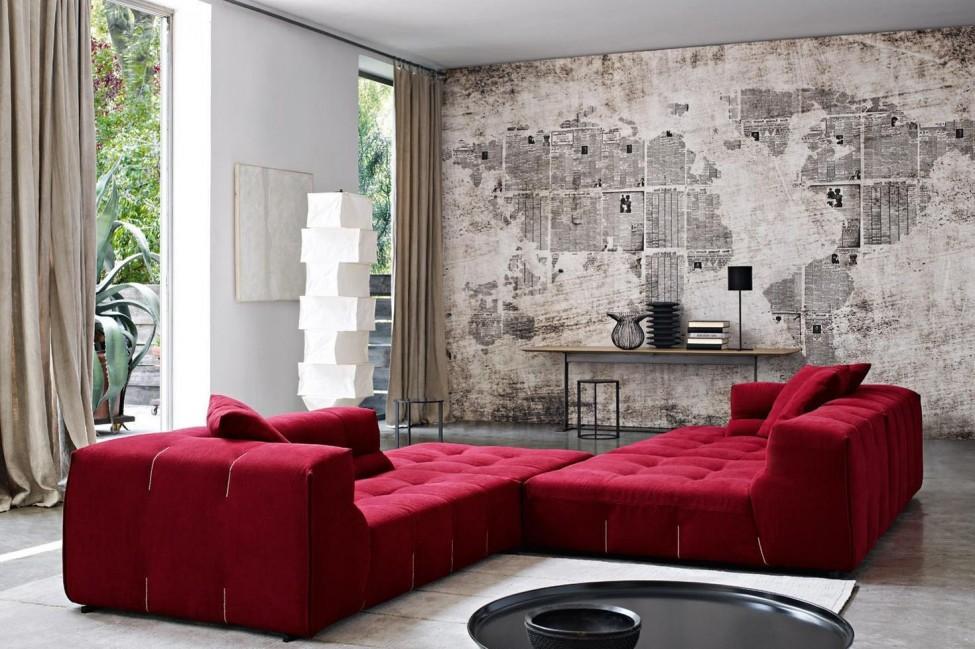 Rojo como color unificador - Salon con sofa rojo ...