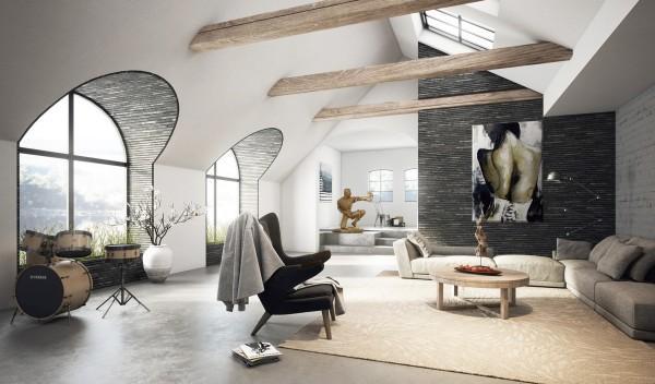 Una original buhardilla convertida en un moderno salón.