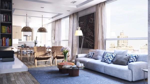 Una interesante composición de mobiliario de distintos estilos.