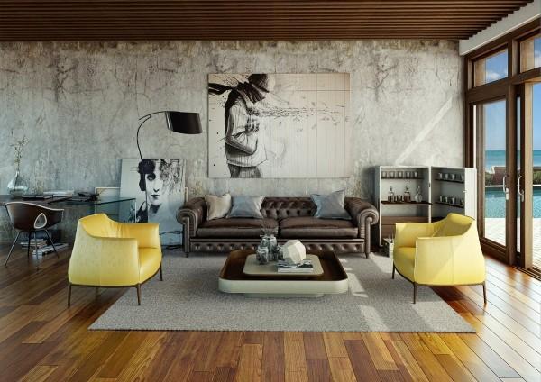 Un interesante composición urbana rota por la vivacidad del color de los sofás.