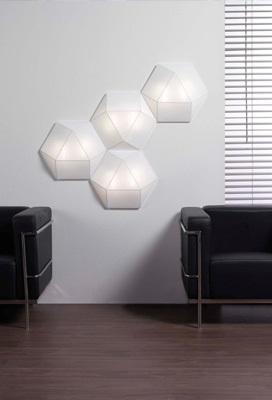 Un diseño con una estructura de figuras geométricas modulares.