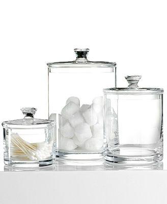 Bomboneras modernas de cristal transparente, de diferentes tamaños.