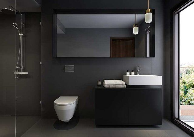 Cuartos de baño en color negro. | Decorar.net