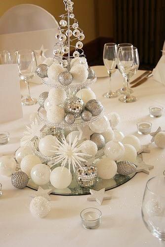 Un centro de mesa, compuesto por bolas de navidad en blanco y plata.