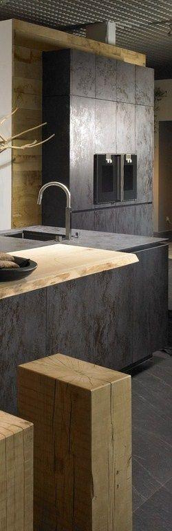 Interesante combinación, la de esta cocina de estilo contemporáneo.
