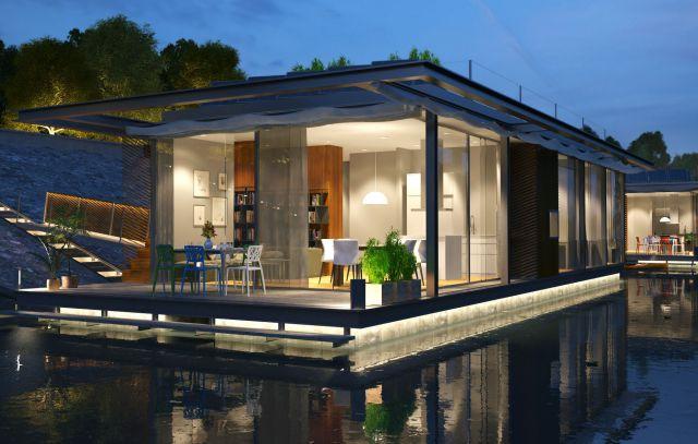 Estilo contemporáneo para estas casa flotantes sobre el río Danubio.