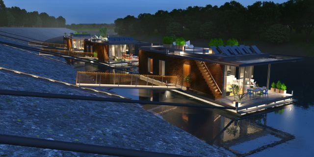 Un sistema de pasarela retráctil, une la casa con tierra firme.