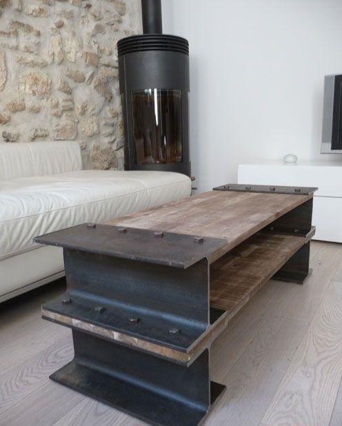 Vigas como elemento decorativo for Como hacer una mesa estilo industrial