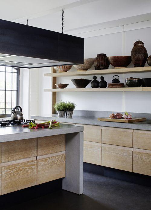 12 ideas para combinar la madera y cemento for Cocinas de concreto modernas