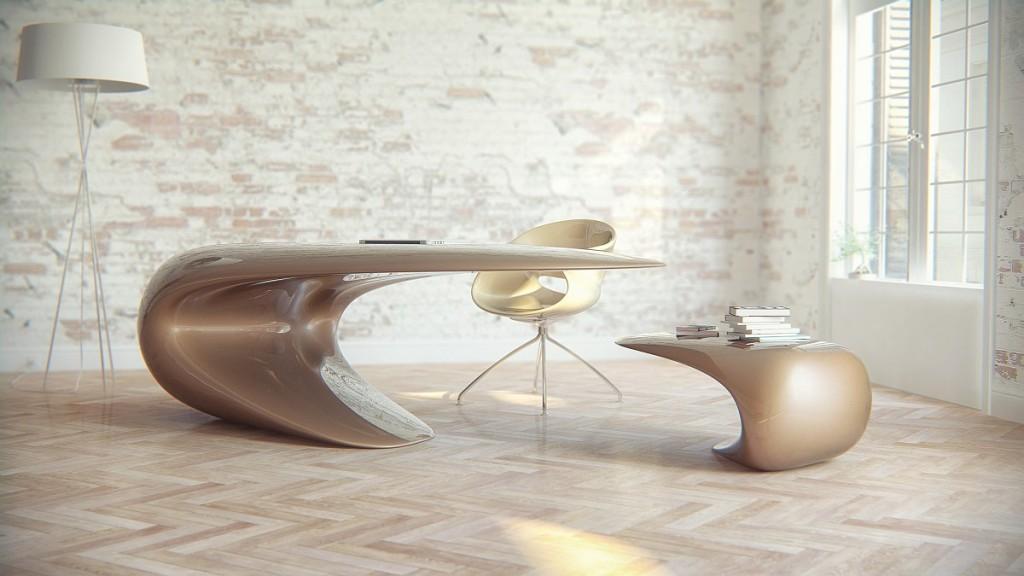 Nebbessa es un escritorio con formas sinuosas, creado por la firma Nuvist.