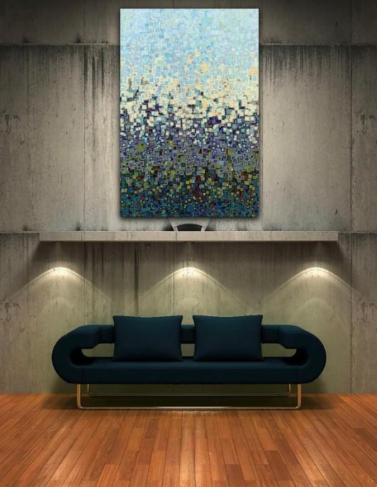 Una pintura del artista Mark Lawrence, luce las paredes de hormigón de esta estancia.