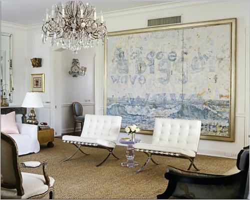 Tonos de suave azul, muestra esta pintura de grandes dimensiones.