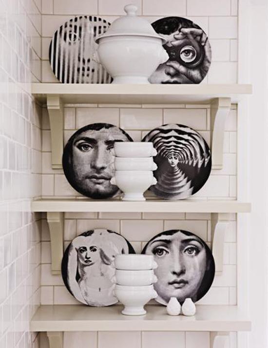 Una clásica colección de platos, del diseñador italiano Piero Fornasetti.