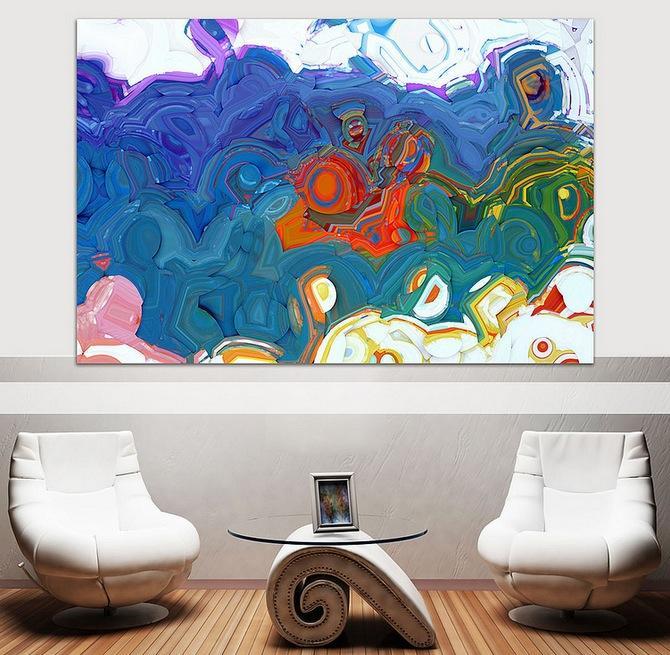 El artista Mark Lawrence firma esta colorista obra de arte abstracto.