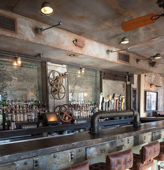 Decoracion industrial bares for Barra estilo industrial