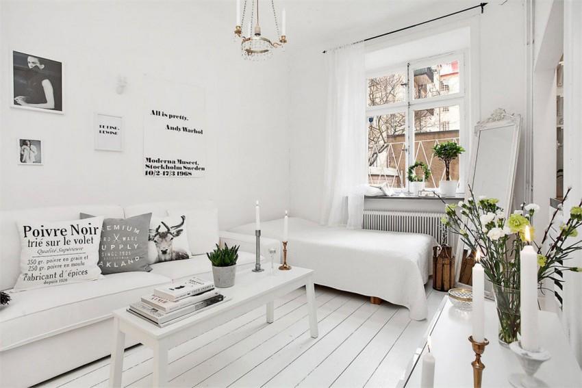 Este otro apartamento en Suecia, donde el tono blanco es el reinante.