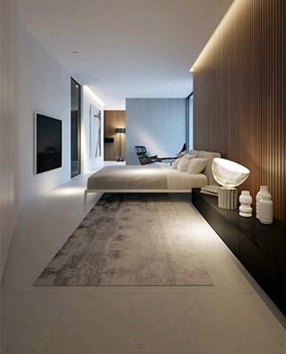 Un amplio dormitorio, que sigue la misma línea decorativa de toda la propiedad.