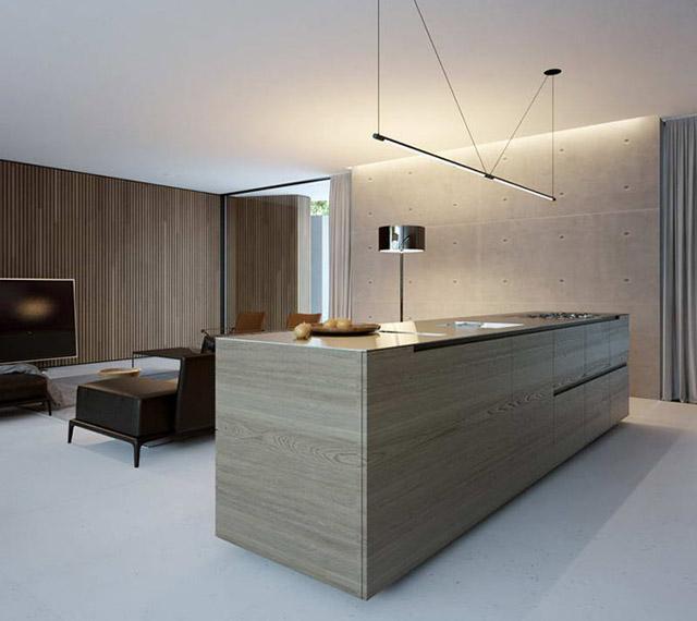 Un diseño compacto cocina, como un mueble más del salón.