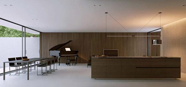 Un salón comedor, donde destaca el piano de cola.