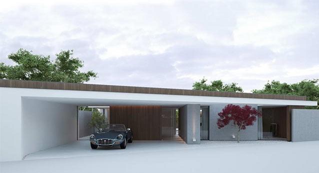 Fachada principal, de esta propiedad de estilo minimalista.