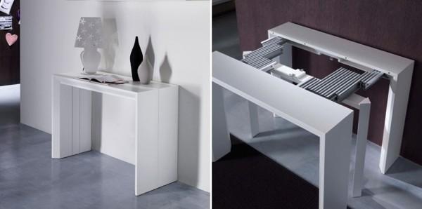 Una moderna consola, que se transforma en mesa de comedor.