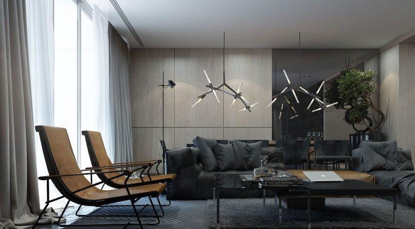 Un moderno salón, con un elegante y sofisticado aspecto.