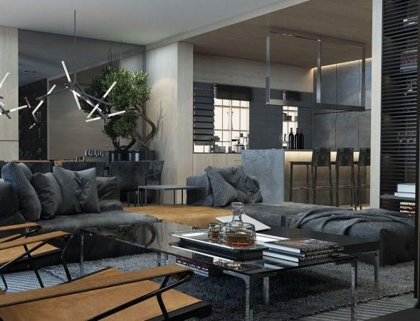 Abierta al salón, se muestra este moderno diseño de cocina.