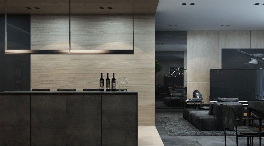El suelo gris de hormigón pulido se combina con otros de mármol, en tonos beige claro.