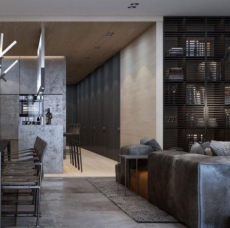 El contraste de materiales, confiere interés decorativo a este apartamento.