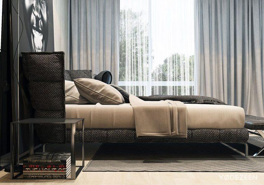 Una original cama con tapicería de cheviot, de aspecto acogedor.