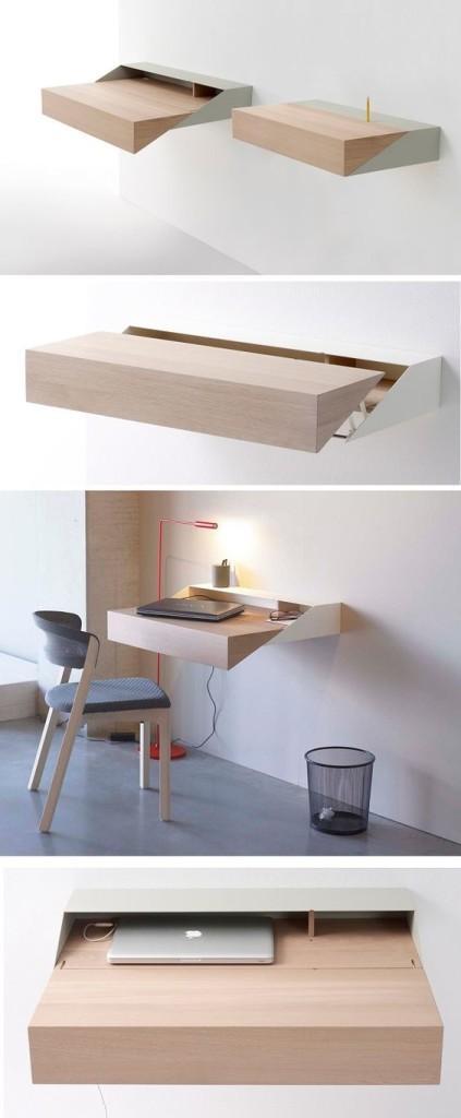 Un sencilla estantería bicolor. que se transforma en escritorio.