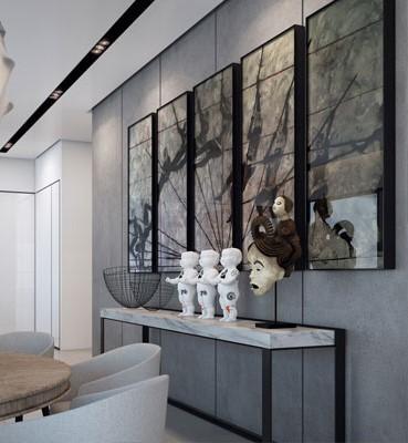 Hierro lacado en tono negro y mármol blanco para esta moderna consola.