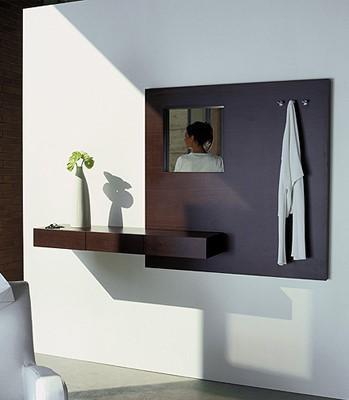 Un recibidor, con un moderna y sencilla diseño de consola suspendida.