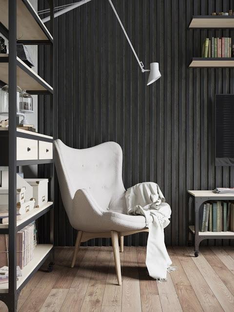 Una combinación de madera clara y metal oscuro muy interesante.