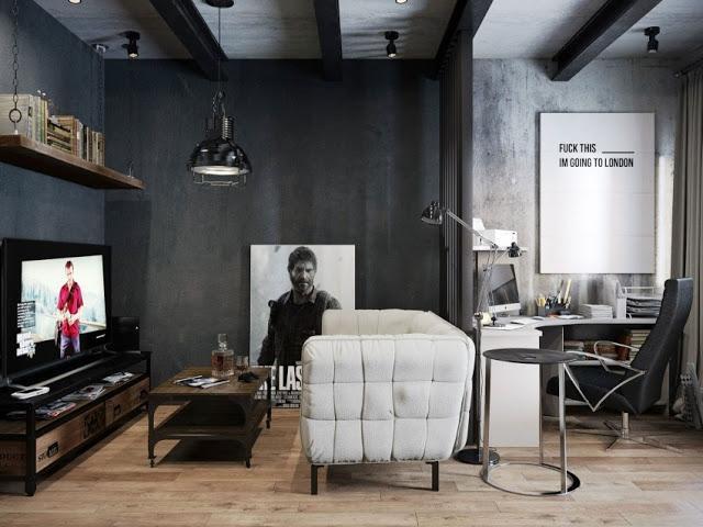 Una estancia de estilo industrial que combina el gris y la madera