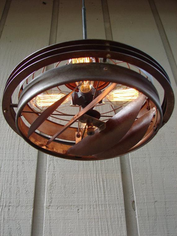 Colgante industrial iluminación ventilador Industrial de reciclado Vintage hecho a mano