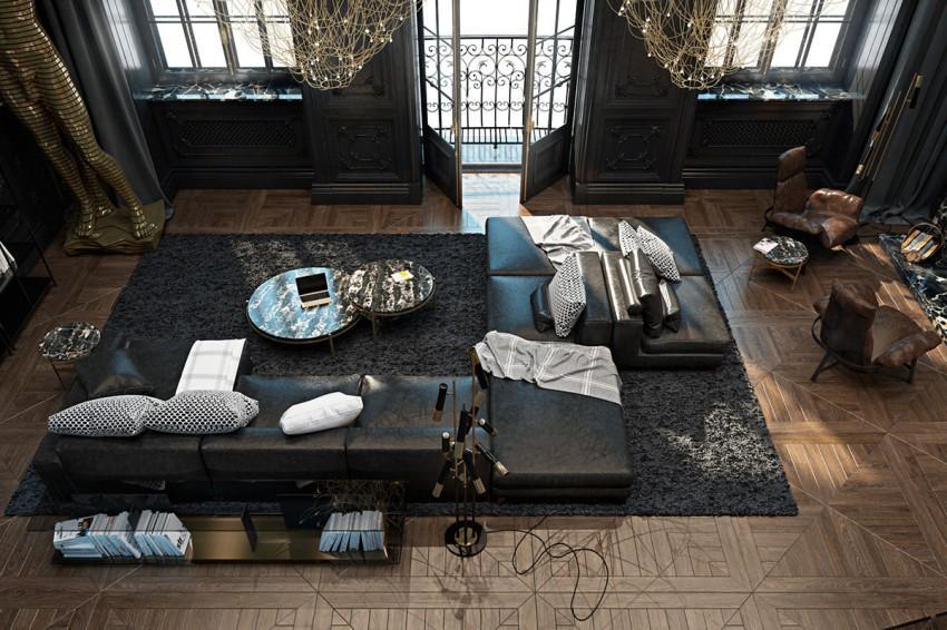 Una gran alfombra de lana de pelo largo, alberga el conjunto de sofás en el centro de la estancia.
