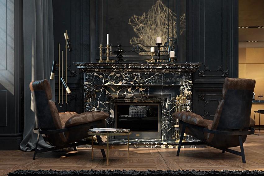 Unos modernos sillones de diseño, contrastan con la clásica chimenea de mármol.