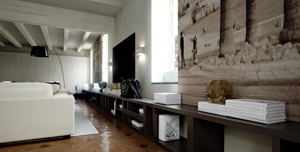 Un espacio contemporáneo con una original combinación de materiales.