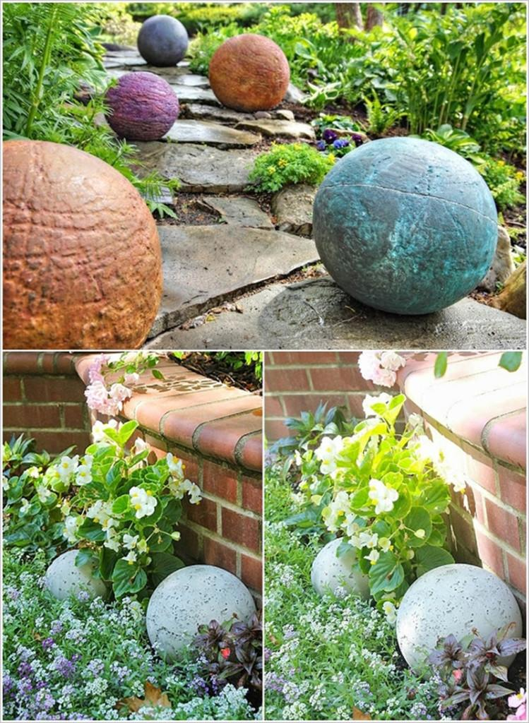 Estas esferas de cemento, son un interesante punto decorativo en el jardín.