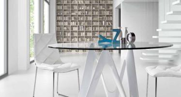 tavolo-in-vetro-rotondo-design-moderno-lapo.jpg  Mesa con pies de fibra de vidrio lacada Sobre en cristal templado Transparente Materiales  PoliuretanoCristal  Montaje  Fácil una persona.