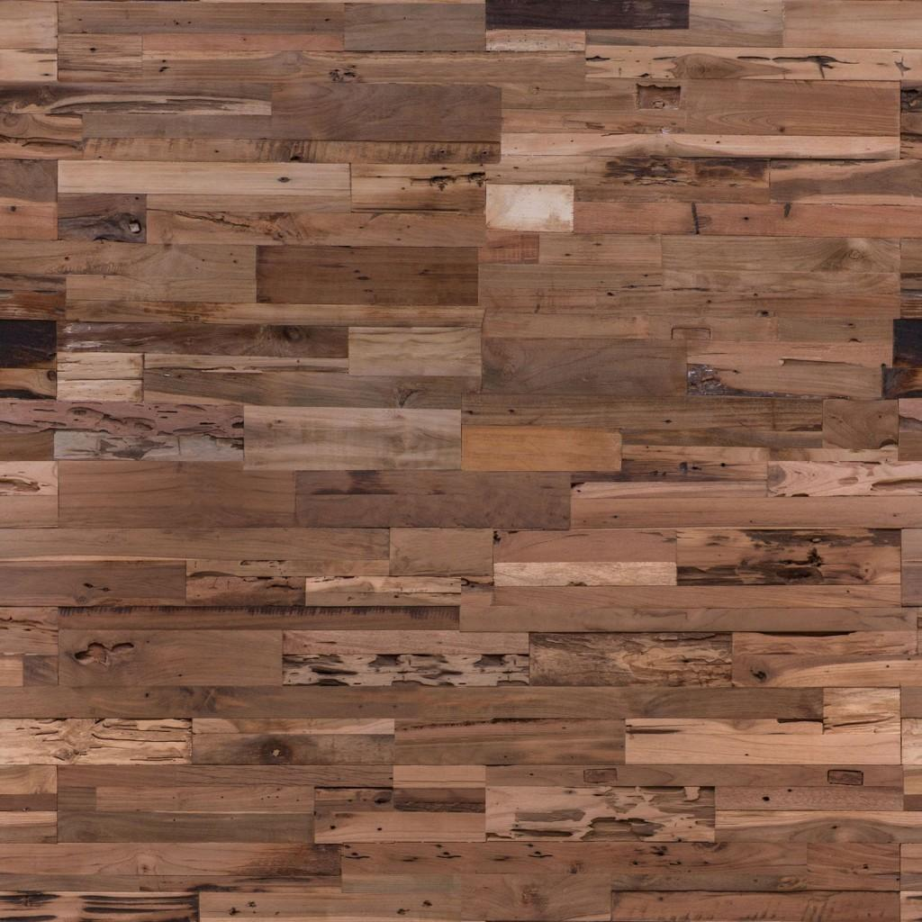 Panel compuesto de piezas de madera de teca reciclada.