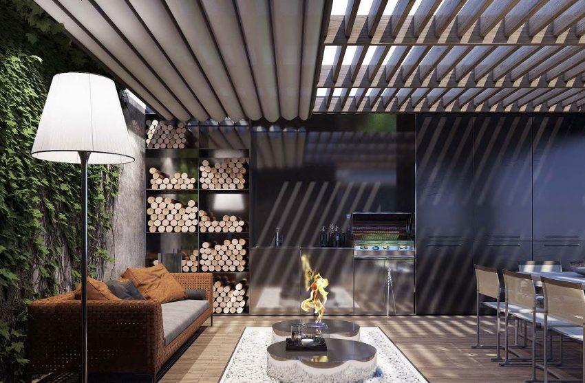 Un impresionante salón de exterior, con detalles que podríamos encontrar en uno de interior.